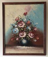 Original Irish Art Oil On Board Painting Still Life Flowers In Vase Linda Kirk
