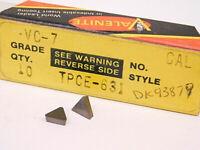 NEW SURPLUS 10PCS. VALENITE  TPCE 631  GRADE: VC7  CARBIDE INSERTS