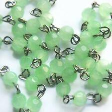 1 ft Pale Geen Rosary Chain Faceted Glass Czech Beads Linked Religious 6mm