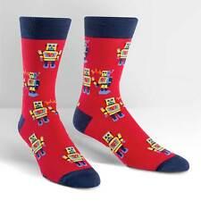 Robot Love Dress Crew Socks Red Men Size 10-13 Sock It To Me Metal Heart Fashion