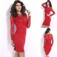 Sz 8 10 Red Lace Long Sleeve Sexy Bodycon Formal Cocktail Party Slim Midi Dress