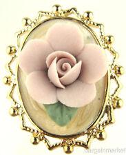 Porcelain Flower Brooch Vintage Style 3D Lavender