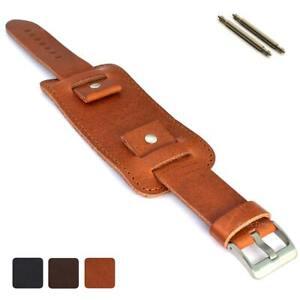 Men's Military Genuine Leather Watch Strap Band Cuff Pad 18 20 22 24 Crimea MM
