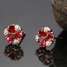Fashion Women 18k Rose Gold Plated Red Waterdrop CZ Gem Earrings Wedding Jewelry