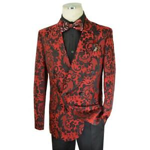 Extrema Red / Black Woven Paisley Cotton Blend Double Breasted Classic Fit Suit