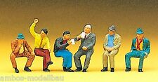Preiser 10097 H0, Sitzende Personen, 6 Figuren, handbemalt, Neu
