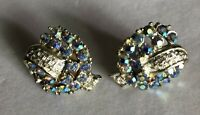 Stunning Vintage Silver Tone with Rhinestone Clip On Earrings #494