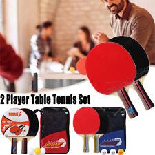 2pcs Long Short Handle Table Tennis Racket Set Paddle Ping Pong Bat + 3Balls CA