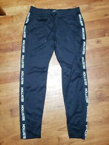 Mens Hollister Black Track Pants Joggers Size Large