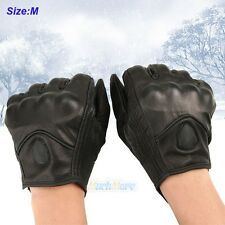 A Pair Men Winter Leather Motorcycle Full Finger Warm Driving Gloves M Size USA