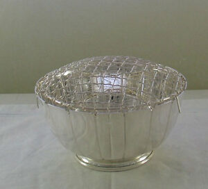 Silver Rose Bowl with Net, Coronet, Fluted 6  in.