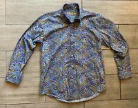 Alan Flusser Paisley Men's Blue Long Sleeve Button Down Size M Medium