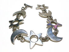 ESTATE MEXICO MEXICAN STERLING SILVER MOON & STAR NIGHT WOMENS BRACELET 7.75""