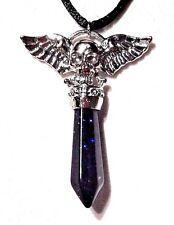 GOLDSTONE CRYSTAL PENDANT silver skull wing biker metal goth punk necklace 3C