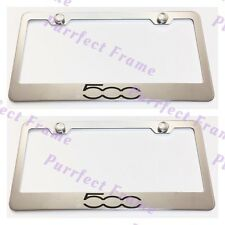 2X Fiat 500 Stainless Steel License Plate Frame Rust Free W/ Boltcap