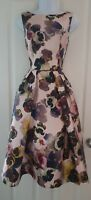 Womens Chi Chi London Dress size 10 pink floral fit and flare midi occasion vgc
