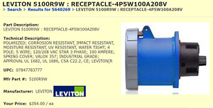LEVITON 5100R9W WATER TIGHT RECEPTACLE Flanged Inlet 100A HUB NEW PULL [C10S3]