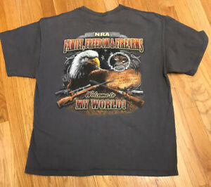 National Rifle Association T Shirt Size XL NRA Family Freedom & Firearms Gray