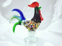 """Gorgeous Murano Green/Blue Confetti Rooster/Chicken 9"""" Tall FREE SHIPPING!"""