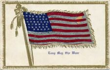 Patriotic ~Novelty Foil American Flag~Long May She Wave~Antique Postcard-p339