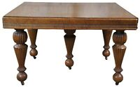 Antique Victorian Quartersawn Oak Drawl Leaf Extendable Square Dining Table 93""
