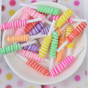 9x50mm Polymer Clay Cabochons Decor Rolling Lollipop Shaped Slime Charms 10 pcs