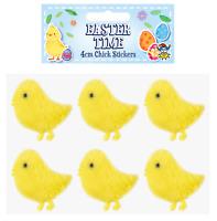 6 x Easter Decorations 4cm Chick Stickers Bonnet Craft Soft Yellow Plush E21215