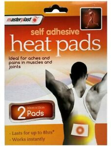 2 X Pads Self Adhesive Heat Pads Pack Muscle Back Joint Pain Relief Instant