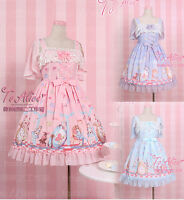 Japanese Harajuku Kawaii Sweet Lolita Vintage Fairytale Princess Lace Bow Dress