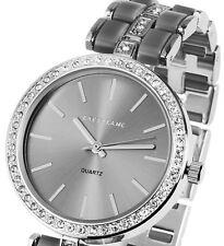 Damen Armbanduhr Grau/Silber Crystalbesatz Metallarmband von Excellanc 1526/04