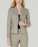 New $210 Le Suit Women Beige Two-Button Notch-Collar Career Blazer Jacket Size 6