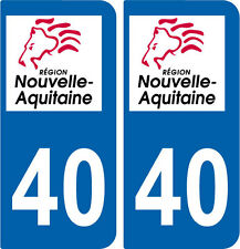 REGION AQUITAINE / 2 STICKERS AUTOCOLLANT PLAQUE IMMATRICULATION DEPARTEMENT 40