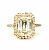 GIA 3.85 ct Emerald Cut Diamond Engagement Ring in 18K Rose Gold - HM1280SV2
