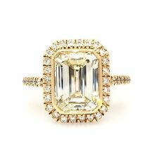 GIA Cert 3.85 Ct Emerald Cut Diamond Engagement Ring in 18K Rose Gold - HM1280
