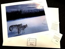 """RON PARKER  """"When Paths Cross"""" (wolves) SN lithograph 1983 >30"""""""" Ed  950 NIF"""