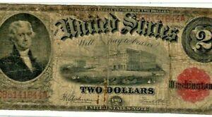 "$2 ""JEFFERSON"" 1917 (RED SEAL)   ""HORSEBLANKET NOTE"" (1917) $2 (RARE) JEFFERSON!"