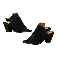 BNWOB Frye Courtney Black Suede Sling Back Block Booties Size 7