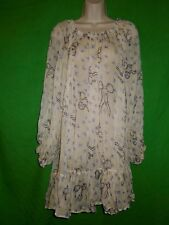 Le Blossom dress tunic blouse size S / M long sleeve polyester semi sheer