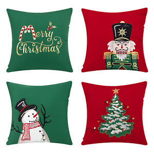 Ashler Christmas Throw Pillow Covers Red & Green Decorative 18 x 18 inches