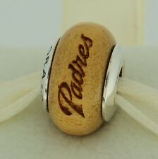 Authentic Pandora USB790705-G023 San Diego Padres Baseball Wood Bead Charm