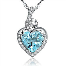 Heart Birthstones Necklace Sterling Silver Lab Aquamarine Pendant With Zirconia