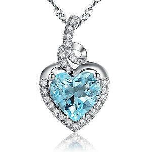 Heart March Birthstones Necklace Sterling Silver Lab Aquamarine Pendant Her Gift