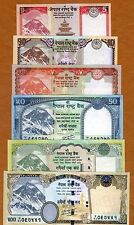 SET Nepal, 5;10;20;50;100;500 Rupees 2012-2015 P-New, UNC Everest Animals