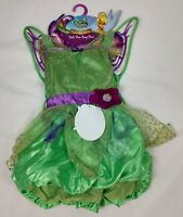 Disney Fairies Finks Pixie Party Costume Green Dress Fantasy Girls Size 4-6X NEW