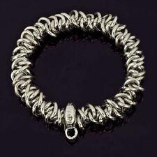 "New Design Shinny Chunky Alloy Metal Silver Carved Bangle Bracelet 6.5"""