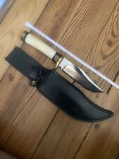 Custom Unknown SAFARI HUNTER Knife, Bone Handle & Sheath Makers mark