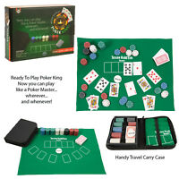 Funtime Poker King Travel Portable Fun Texas Hold Em Gaming Set In A Case