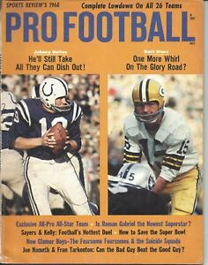 1968 Pro Football magazine,Bart Starr Green Bay Packers Johnny Unitas Colts EX