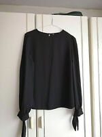 DOROTHY PERKINS WOMENS BLACK BLOUSE CHIFFON TOP SIZE 10 CREW NECK LONG SLEEVE