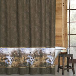 "Blue Ridge Trading Duck Approach Fabric Shower Curtain 72"" x 72"" Mallard Brown"